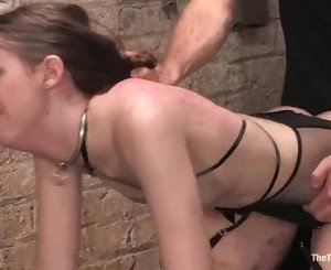 A hot brunette gets her wet cunt pounded by a thick shaft fro...