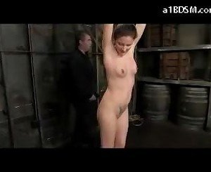 Girl Hanging Whipped Stimulated With Vibrator In The Dungeon