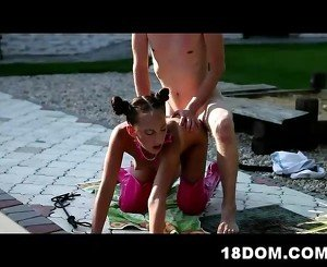 Outdoor femdom action with a swimming coach and his student