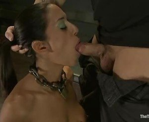 Bound Layla Storm gets her slippery throat slammed
