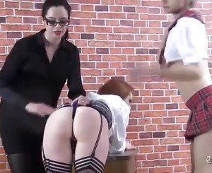 Naughty schoolgirls ass spanked in short slutty skirts