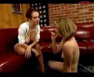 Blonde girl whipped sucking and fucked with strapon by mistr