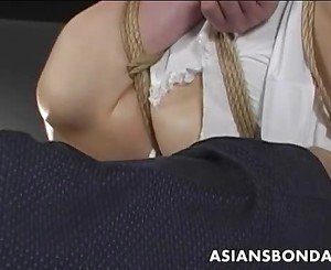 Japanese cutie gets bound, suspended and tormented