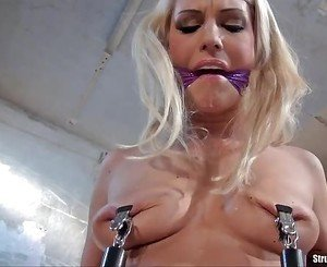 Babe bound spanked whipped dildo machine-fucked