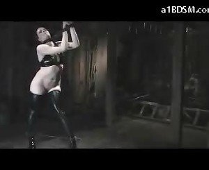 Girl On High Heels Tiead Legs And Arms Hanging Tortured With Stick And Whip Pussy Stimulated With Vibrator By The Master In The Dungeon
