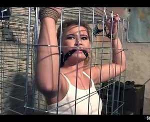 Angel Diamonds caged bound gagged stripped vibed