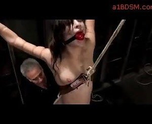 Slim Bondaged Girl Getting Her Pussy Stimulated With Water And Vibrator By Master In The Dungeon