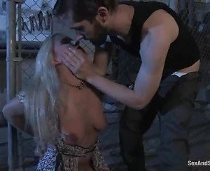 Gorgeous tied up blonde takes a stiff dick down her smotth th...