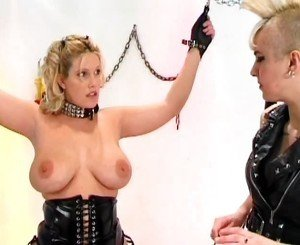 Busty blonde bondage babe slaved by her master