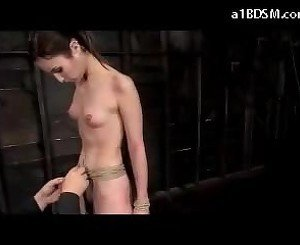 Slim Girl Getting Streched With Ropes Pussy Stimulated With Vibrator In The Dungeon