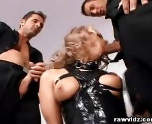 Blonde Slut Ball Gag Rough DP Fuck, Free Porn 1c:
