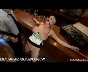 Bondage busty blonde babe enjoys sex in a cafe