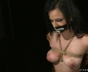Busty slavegirl getting bondaged and fucked
