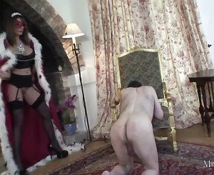 Mistress Carly fucks gimp with strapon filled with cum