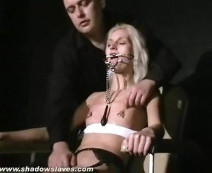 Blonde submissives bizarre facial torture and gags