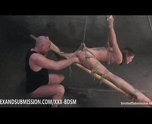 Bondage brunette babe gives blowjob and fucking