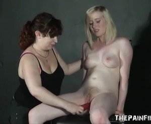 Erotic domination of lesbian submissive in sex toy