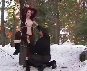 Bound and helpless, Kristine must let her big titties be man-...