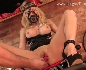 Hot gagged blonde has pussy fucked and ruined by toys