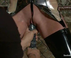 Felony gets bound to the fence and has a machine toy her til...
