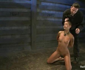 Bitch Skin Diamond is whipped as she fingers her slit