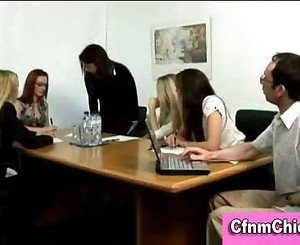 Cfnm femdom ladies humiliate guy in office