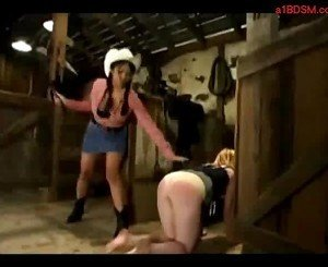 Blonde Girl Whipped Spanked Getting Tied Up By Cowgirl In The Mews