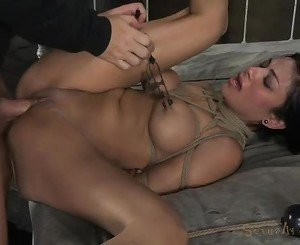 Bound bitch loves getting fucked from behind