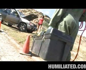 Hawt Stranded Milf Screwed Outdoors!