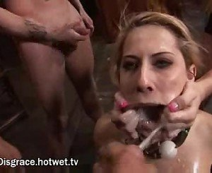 Blonde cum slut enjoying bdsm
