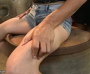 Anna Marie La Sante Sitting On Drum Torture By Hot Babe