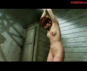 Redhead girl standing with tied arms mouthgagged whipped by