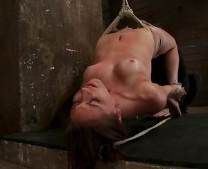 Roasting chick gets tied up & suspended in the air