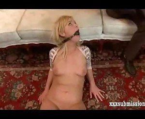 Submissive hogtied blonde humiliated