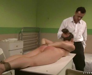 Doctor punishing his patient pretty hard