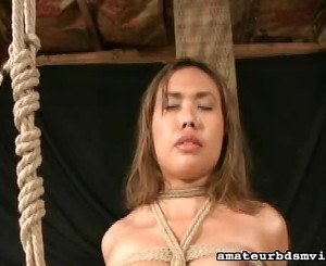 Bound girl made to cum