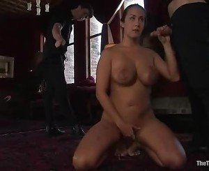 Stupid slut is forced to give hand job as she fingers her lov...
