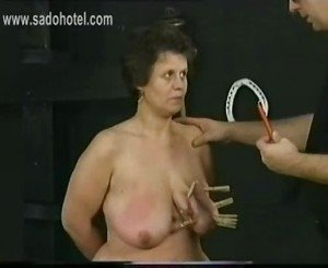 German old fat slave got wooden clamps and candlewax on her