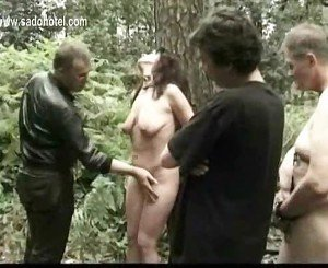 Hot and horny slave tied to tree with got played with by two