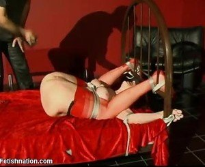 Scarlet lady bound and abused