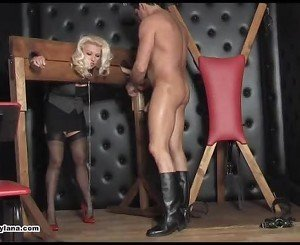 Busty blonde Milf fed cock then submits pussy to master