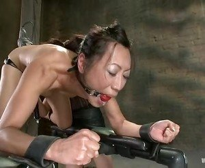 Tia Ling's pussy takes everything it can from a fuck machine
