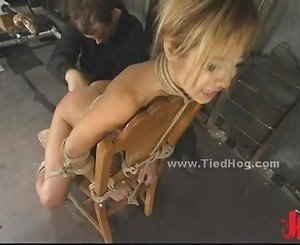 Slut is tied like a hog immobilized